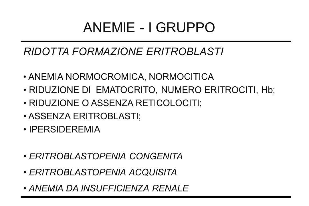ANEMIE - I GRUPPO RIDOTTA FORMAZIONE ERITROBLASTI