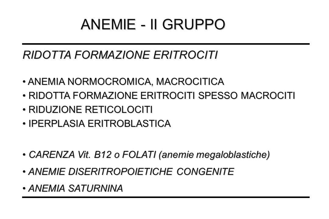 ANEMIE - II GRUPPO RIDOTTA FORMAZIONE ERITROCITI