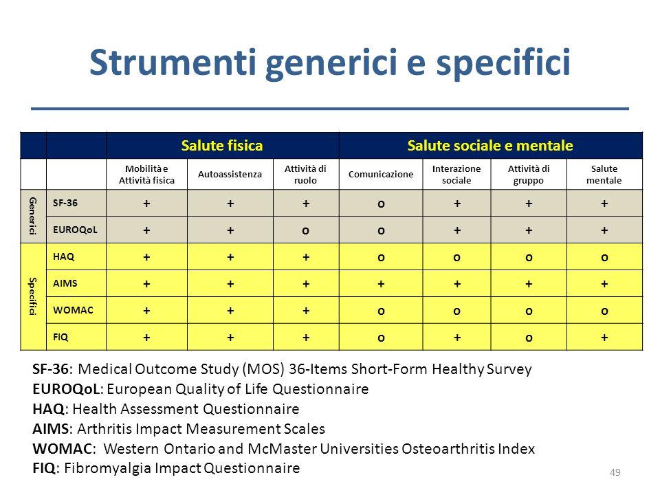 Strumenti generici e specifici