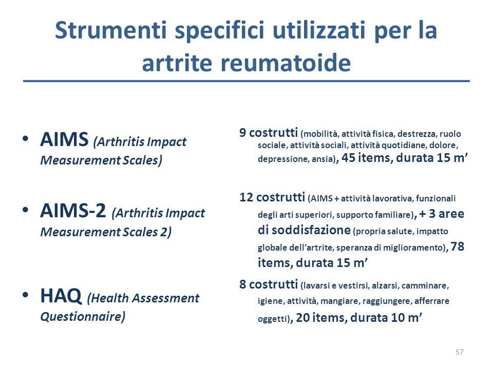 Strumenti specifici utilizzati per la artrite reumatoide