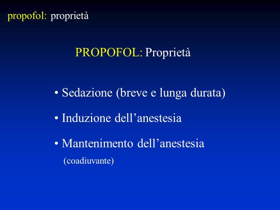 Sedazione (breve e lunga durata) Induzione dell'anestesia