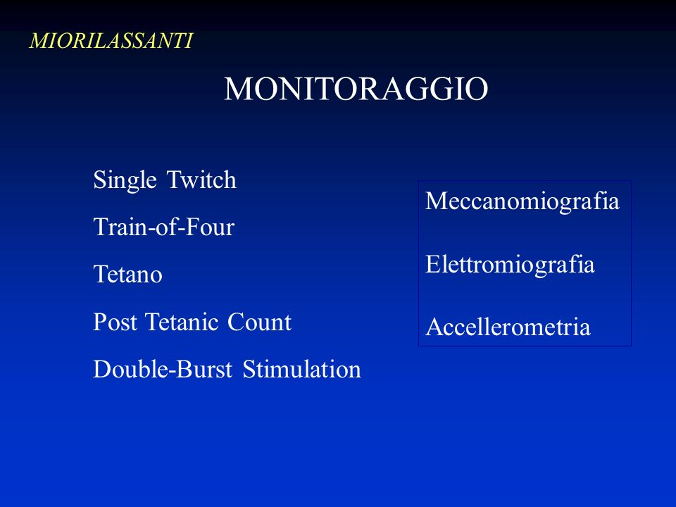 MONITORAGGIO Single Twitch Train-of-Four Meccanomiografia Tetano