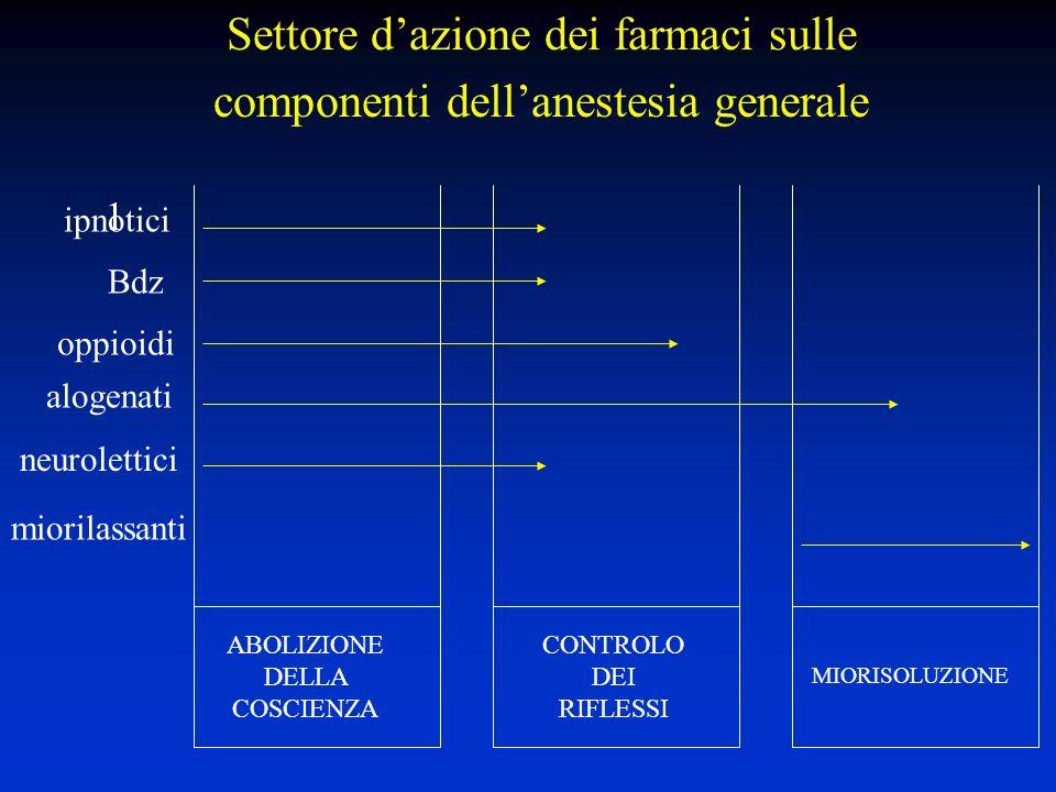Settore d'azione dei farmaci sulle componenti dell'anestesia generale