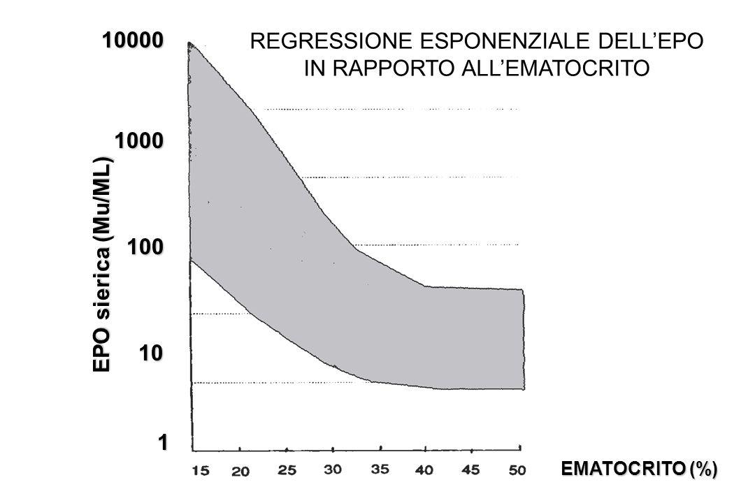 REGRESSIONE ESPONENZIALE DELL'EPO IN RAPPORTO ALL'EMATOCRITO
