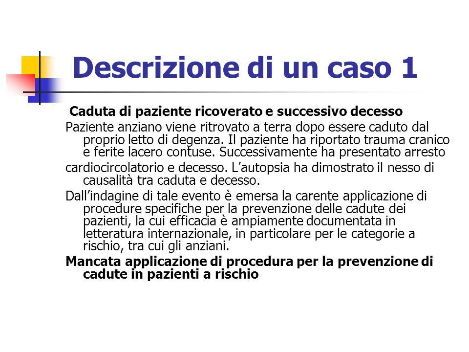 Descrizione di un caso 1 Caduta di paziente ricoverato e successivo decesso.