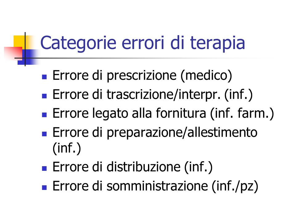 Categorie errori di terapia