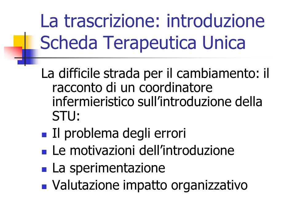 La trascrizione: introduzione Scheda Terapeutica Unica