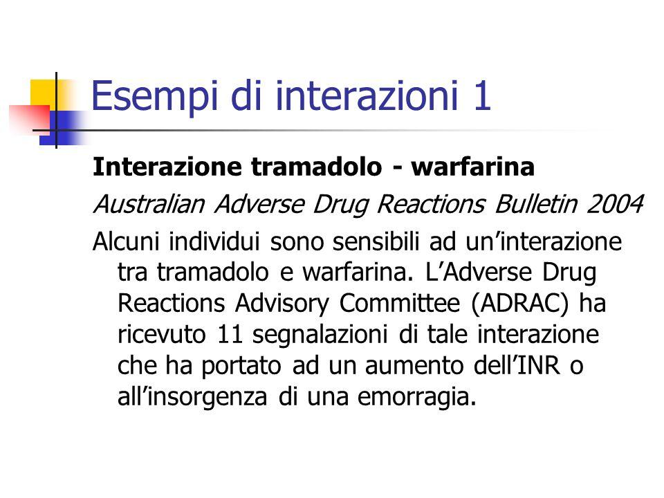 Esempi di interazioni 1 Interazione tramadolo - warfarina