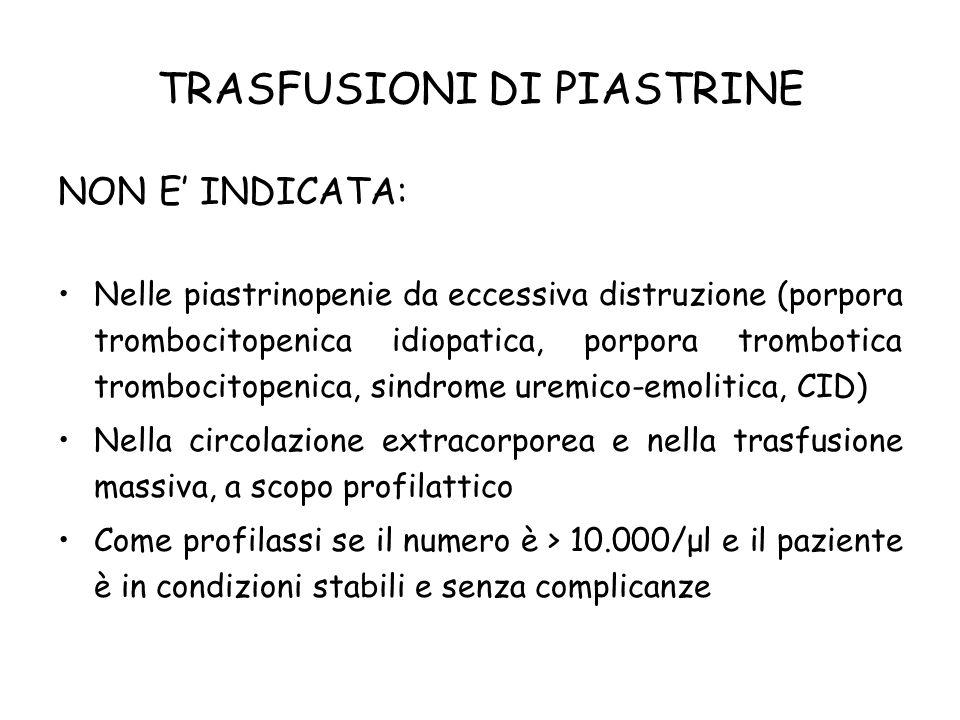 TRASFUSIONI DI PIASTRINE