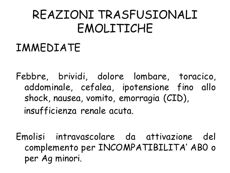 REAZIONI TRASFUSIONALI EMOLITICHE