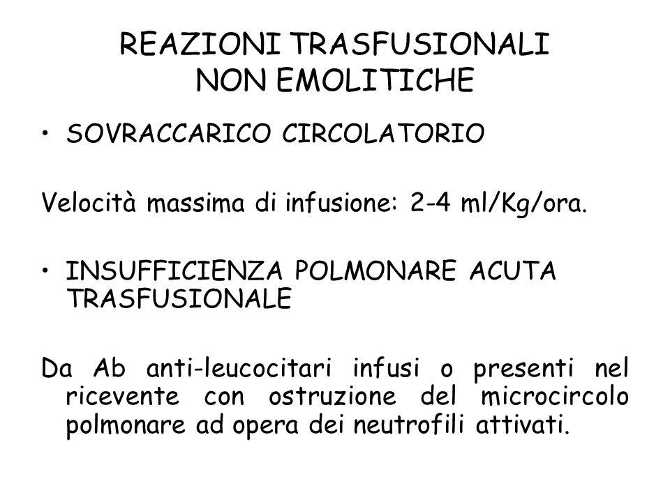 REAZIONI TRASFUSIONALI NON EMOLITICHE