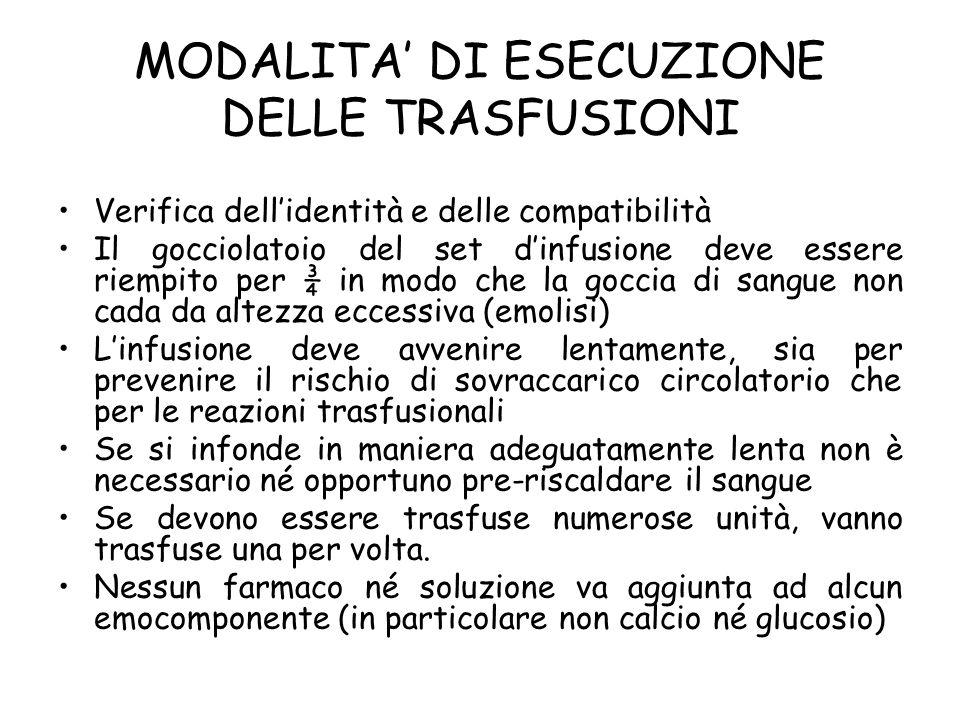 MODALITA' DI ESECUZIONE DELLE TRASFUSIONI