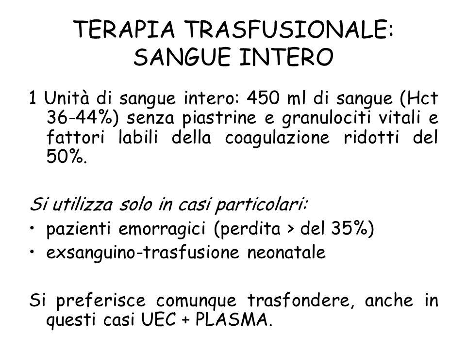 TERAPIA TRASFUSIONALE: SANGUE INTERO