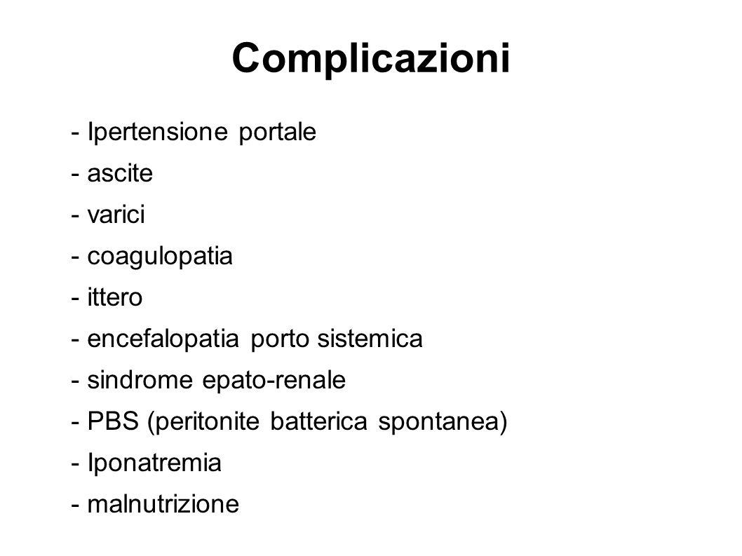 Complicazioni - Ipertensione portale - ascite - varici - coagulopatia