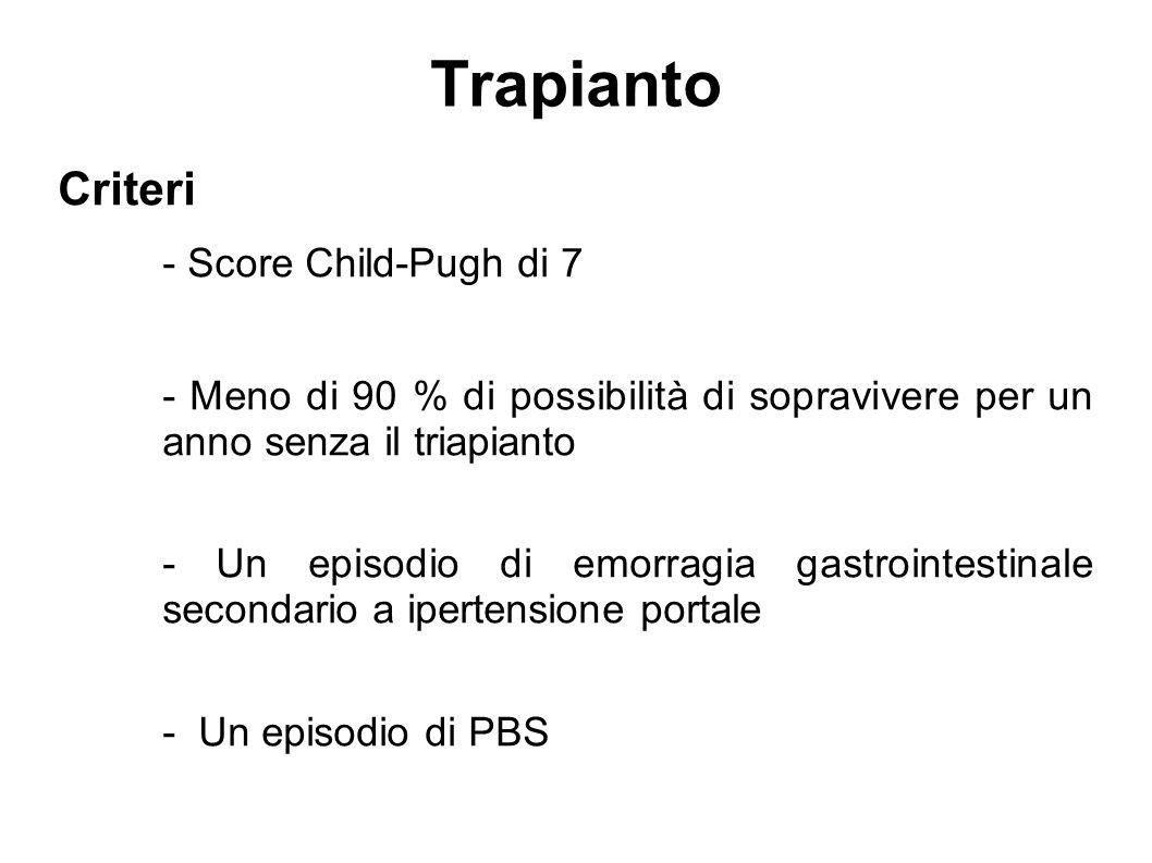 Trapianto Criteri - Score Child-Pugh di 7
