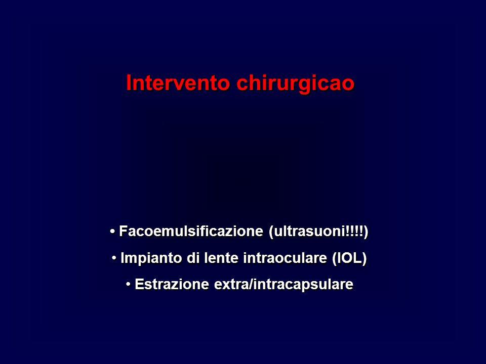 • Facoemulsificazione (ultrasuoni!!!!)