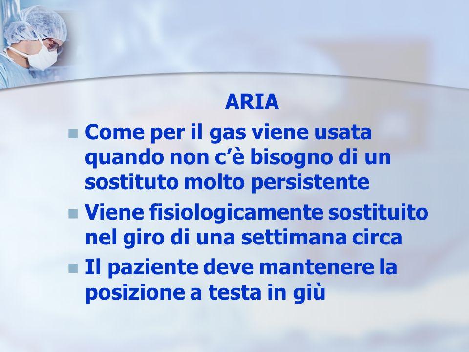 ARIA Come per il gas viene usata quando non c'è bisogno di un sostituto molto persistente.
