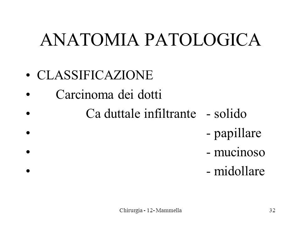 ANATOMIA PATOLOGICA CLASSIFICAZIONE Carcinoma dei dotti