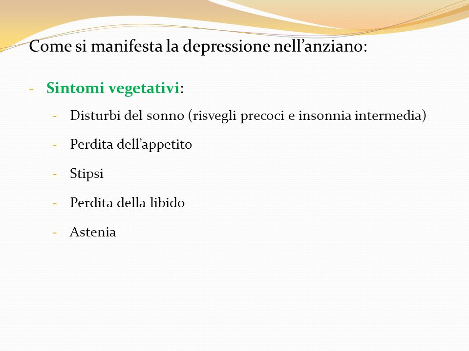 Come si manifesta la depressione nell'anziano: