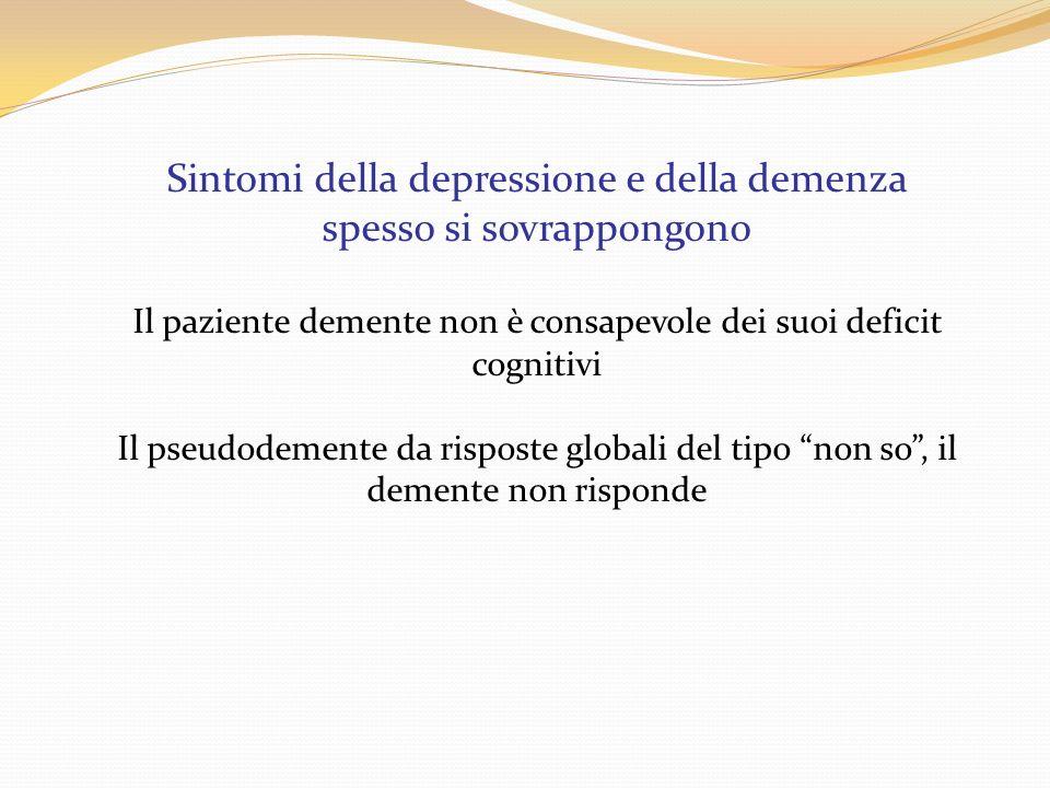 Sintomi della depressione e della demenza spesso si sovrappongono