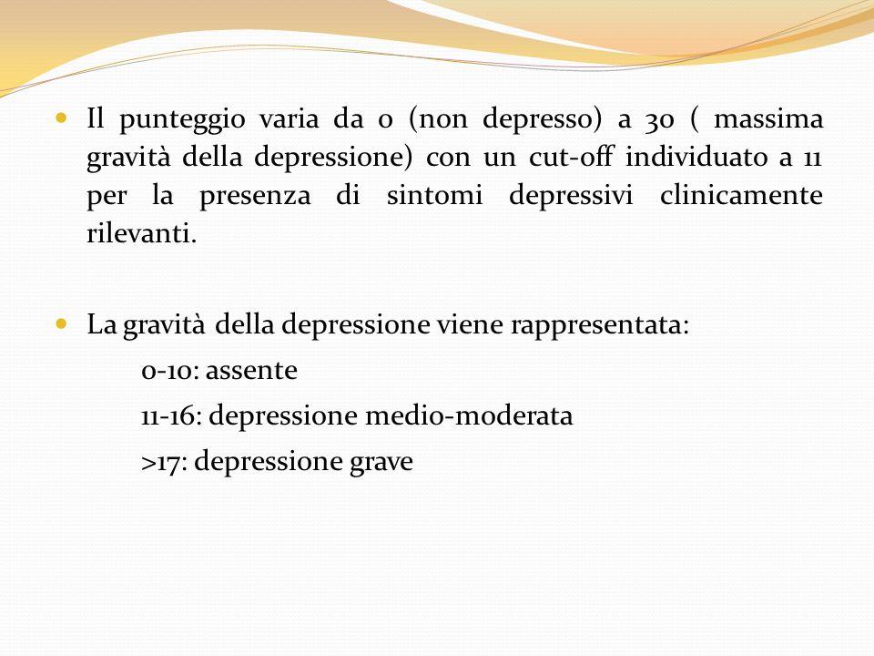 Il punteggio varia da 0 (non depresso) a 30 ( massima gravità della depressione) con un cut-off individuato a 11 per la presenza di sintomi depressivi clinicamente rilevanti.