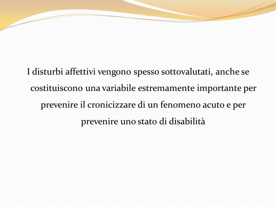 I disturbi affettivi vengono spesso sottovalutati, anche se costituiscono una variabile estremamente importante per prevenire il cronicizzare di un fenomeno acuto e per prevenire uno stato di disabilità