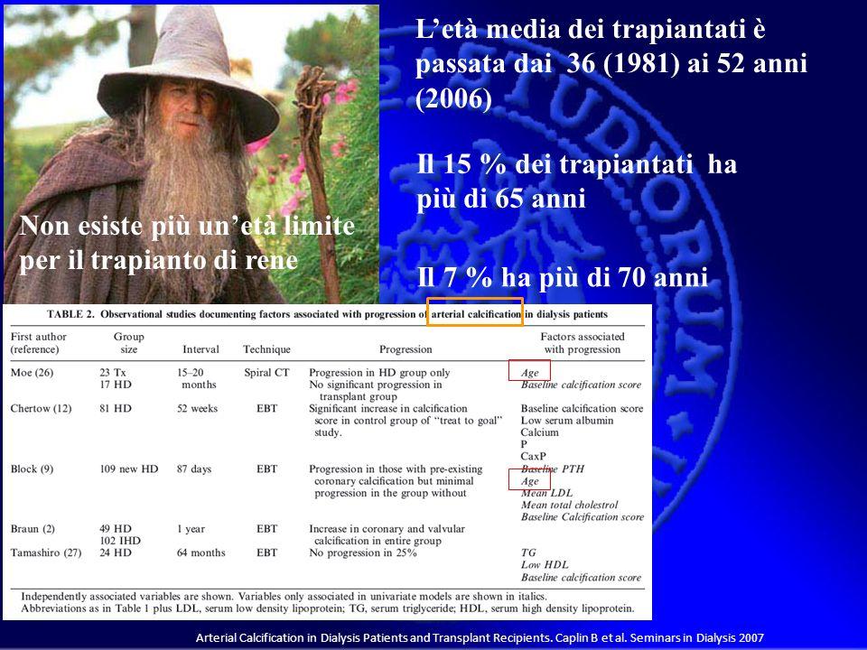 L'età media dei trapiantati è passata dai 36 (1981) ai 52 anni (2006)
