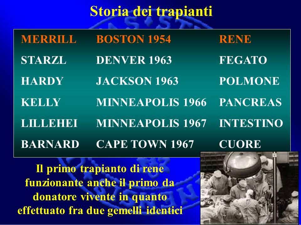 Storia dei trapianti MERRILL BOSTON 1954 STARZL DENVER 1963
