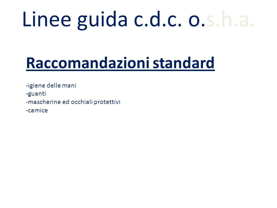 Linee guida c.d.c. o.s.h.a. Raccomandazioni standard