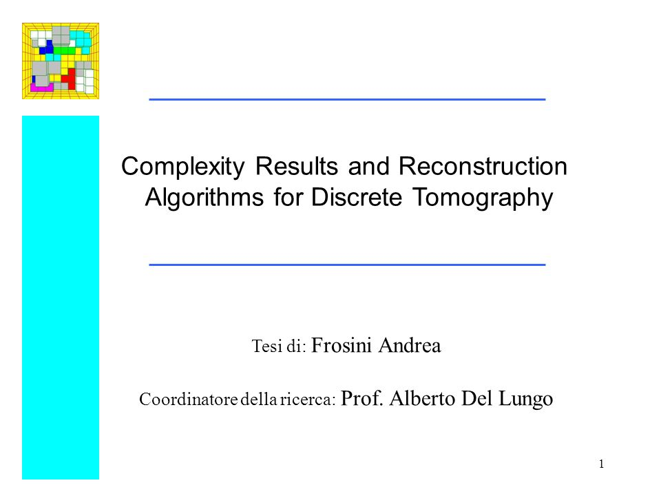 Complexity Results and Reconstruction