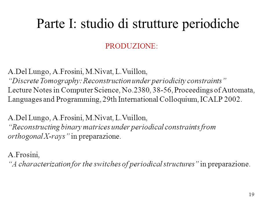 Parte I: studio di strutture periodiche
