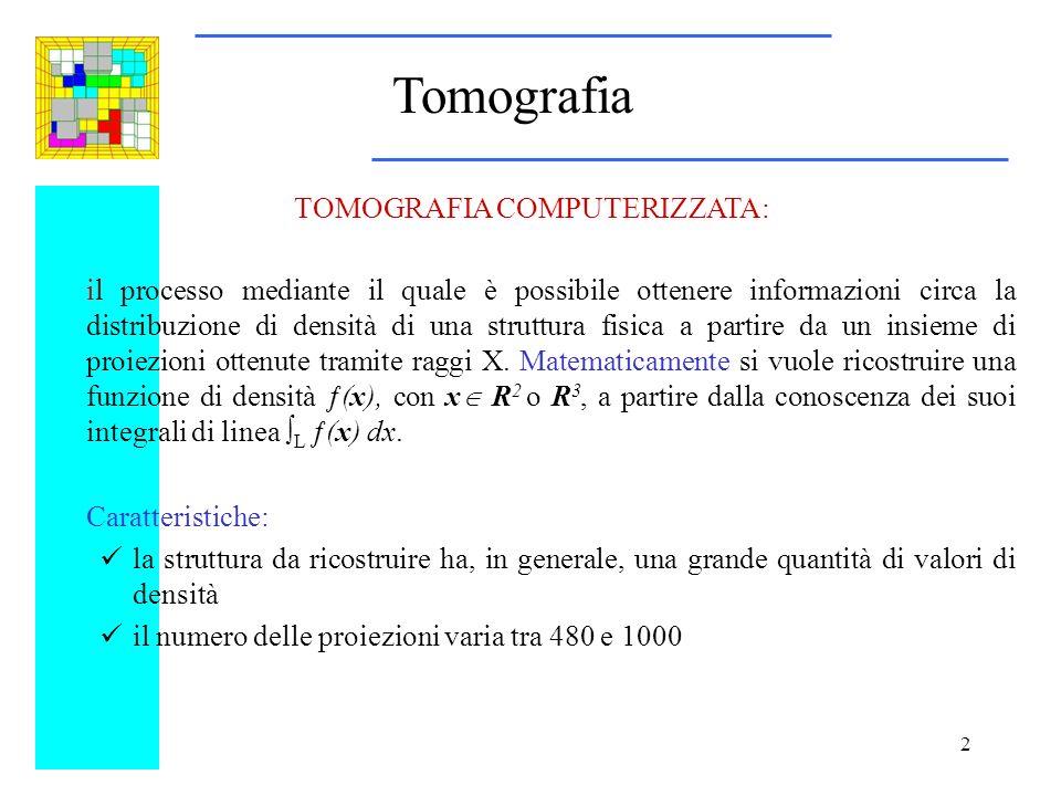 Tomografia TOMOGRAFIA COMPUTERIZZATA: