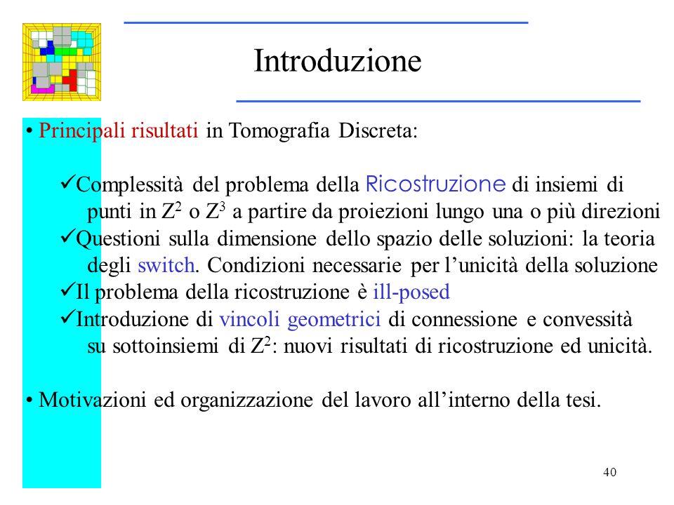 Introduzione Principali risultati in Tomografia Discreta: