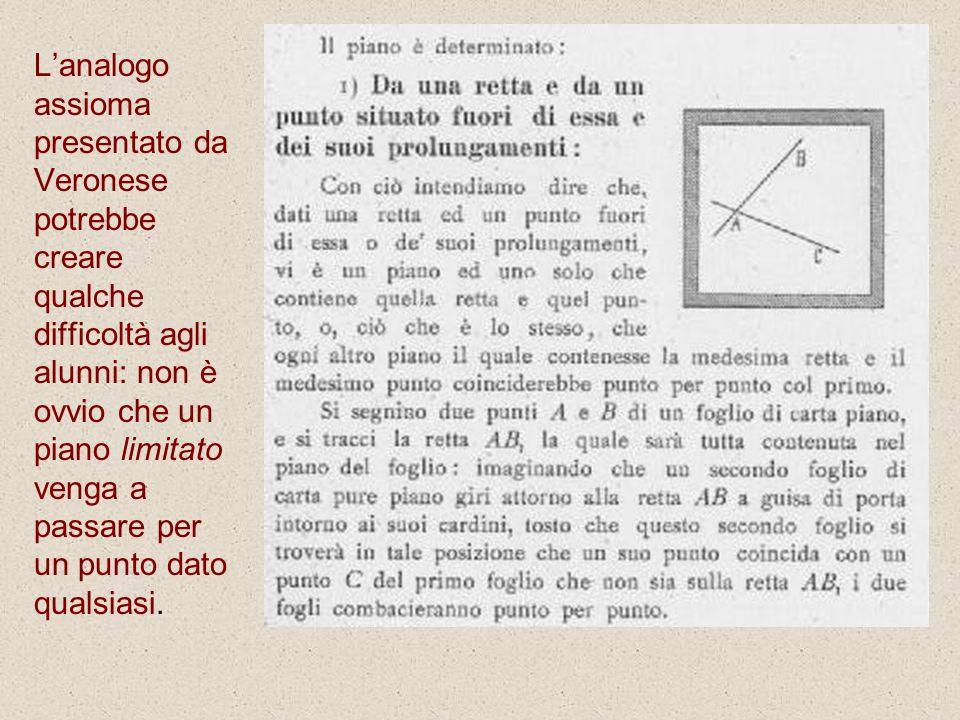 L'analogo assioma presentato da Veronese potrebbe creare qualche difficoltà agli alunni: non è ovvio che un piano limitato venga a passare per un punto dato qualsiasi.