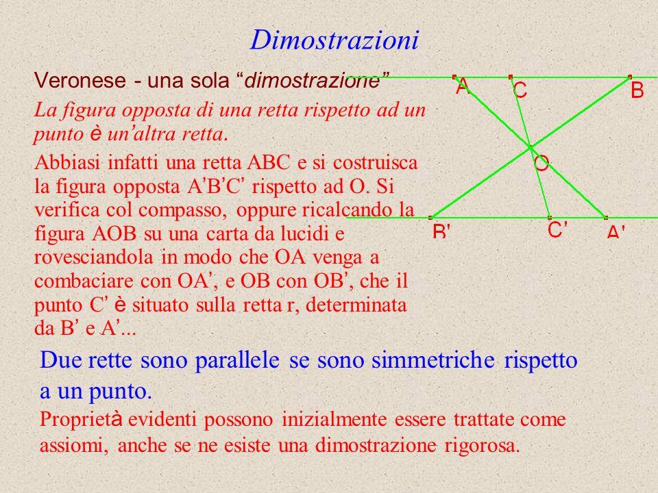 Dimostrazioni Veronese - una sola dimostrazione La figura opposta di una retta rispetto ad un punto è un'altra retta.
