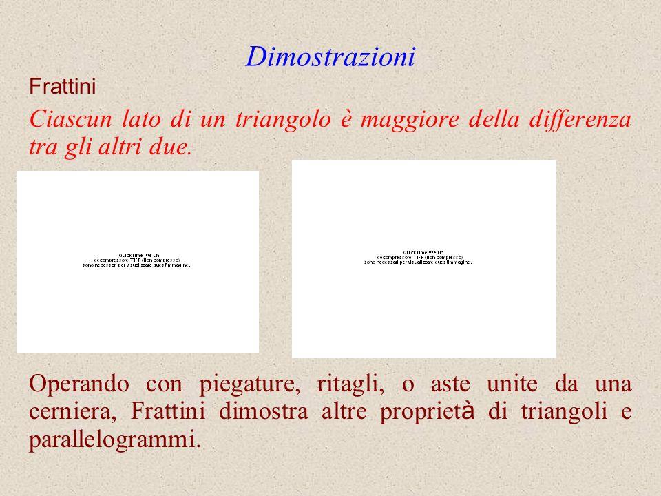 Dimostrazioni Frattini. Ciascun lato di un triangolo è maggiore della differenza tra gli altri due.