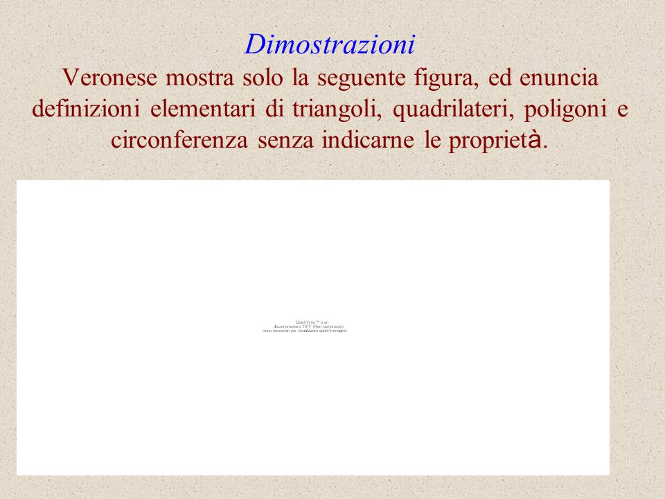 Dimostrazioni Veronese mostra solo la seguente figura, ed enuncia definizioni elementari di triangoli, quadrilateri, poligoni e circonferenza senza indicarne le proprietà.