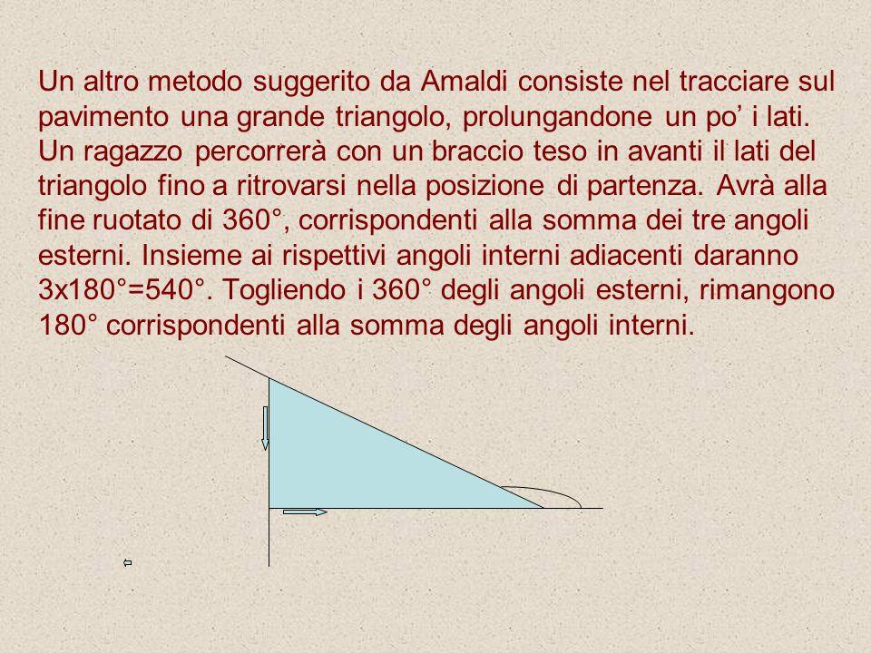Un altro metodo suggerito da Amaldi consiste nel tracciare sul pavimento una grande triangolo, prolungandone un po' i lati.