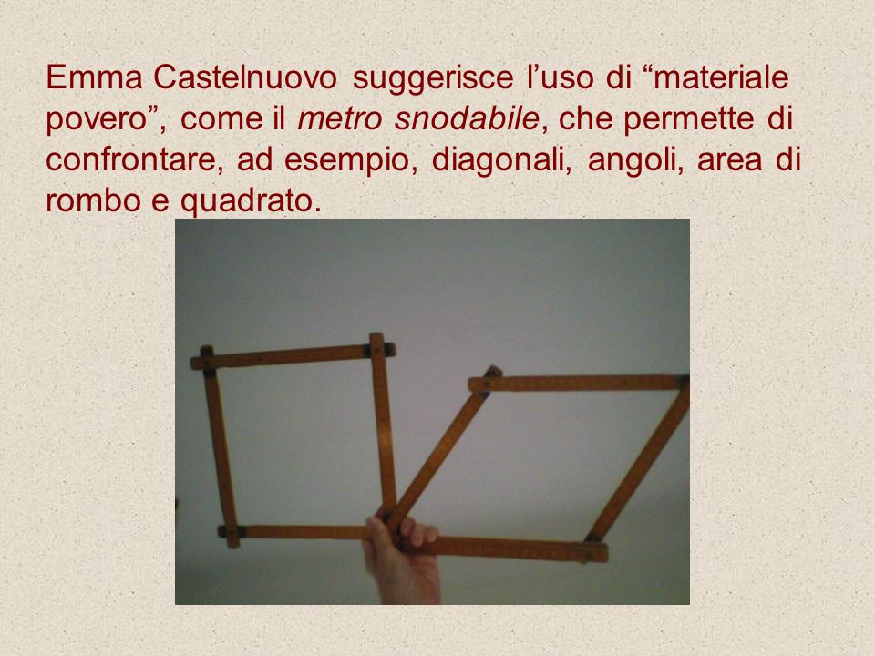 Emma Castelnuovo suggerisce l'uso di materiale povero , come il metro snodabile, che permette di confrontare, ad esempio, diagonali, angoli, area di rombo e quadrato.