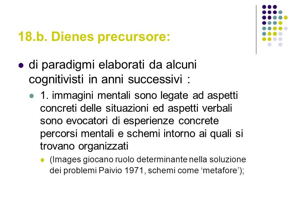 18.b. Dienes precursore: di paradigmi elaborati da alcuni cognitivisti in anni successivi :