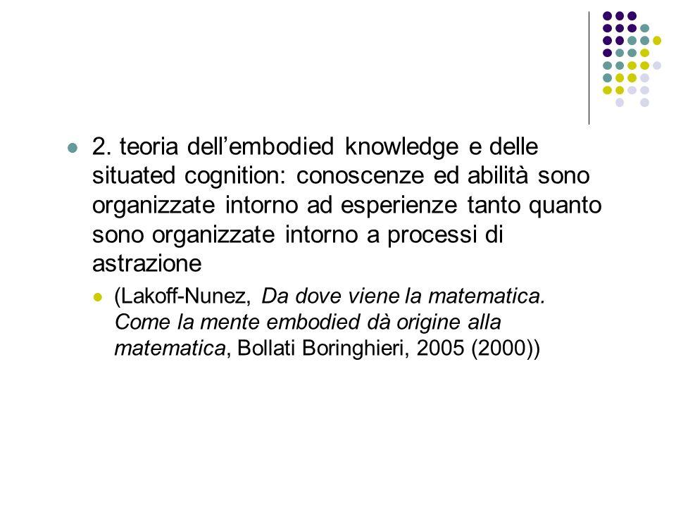 2. teoria dell'embodied knowledge e delle situated cognition: conoscenze ed abilità sono organizzate intorno ad esperienze tanto quanto sono organizzate intorno a processi di astrazione