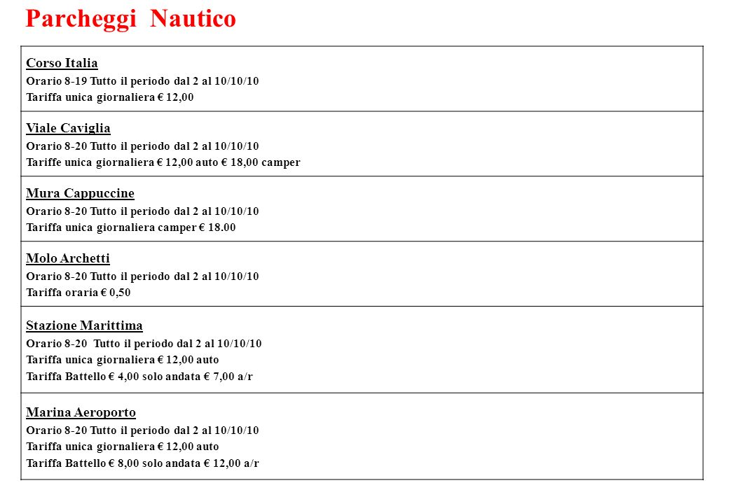 Parcheggi Nautico Corso Italia Orario 8-19 Tutto il periodo dal 2 al 10/10/10 Tariffa unica giornaliera € 12,00.