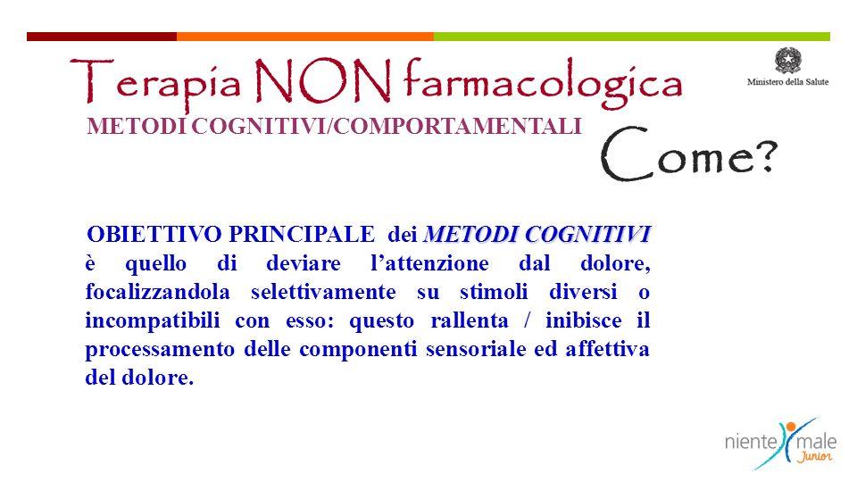 Come Terapia NON farmacologica METODI COGNITIVI/COMPORTAMENTALI