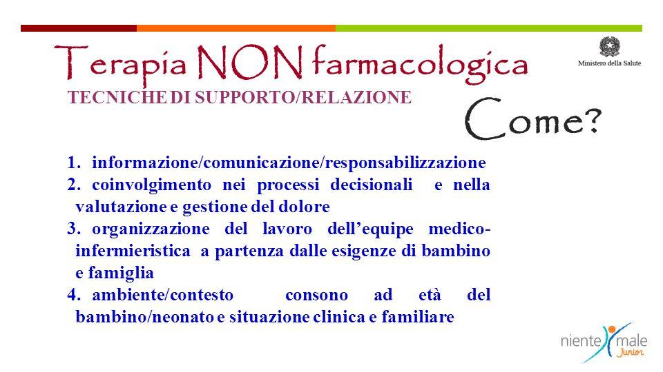 Come Terapia NON farmacologica TECNICHE DI SUPPORTO/RELAZIONE