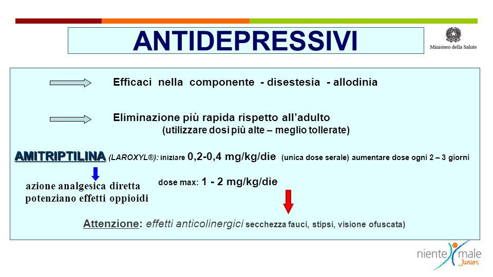 ANTIDEPRESSIVI Efficaci nella componente - disestesia - allodinia