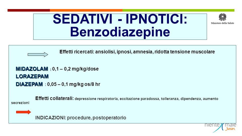 SEDATIVI - IPNOTICI: Benzodiazepine