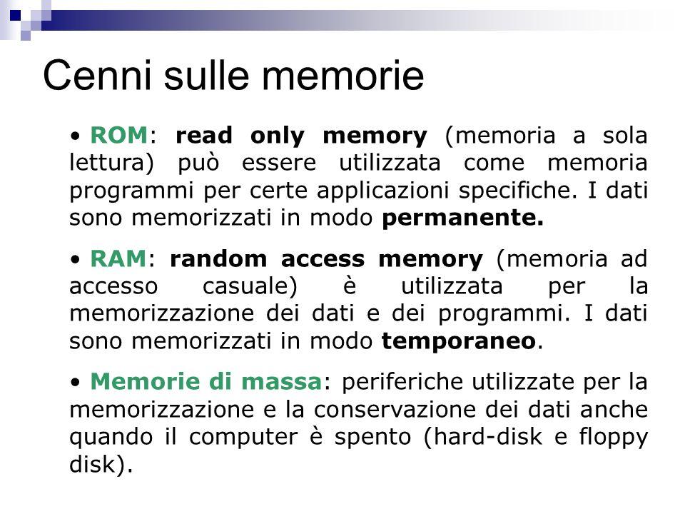 Cenni sulle memorie