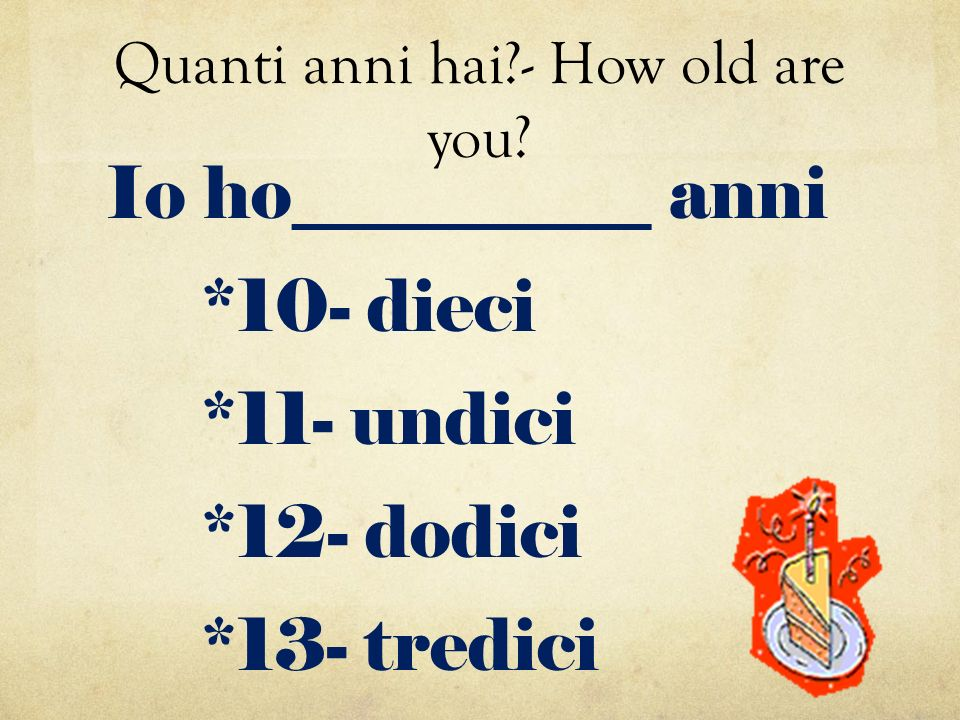 Quanti anni hai - How old are you