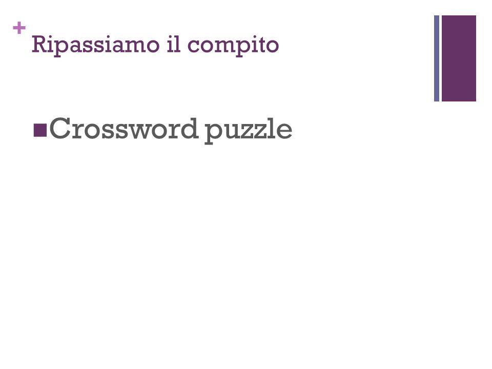 Ripassiamo il compito Crossword puzzle