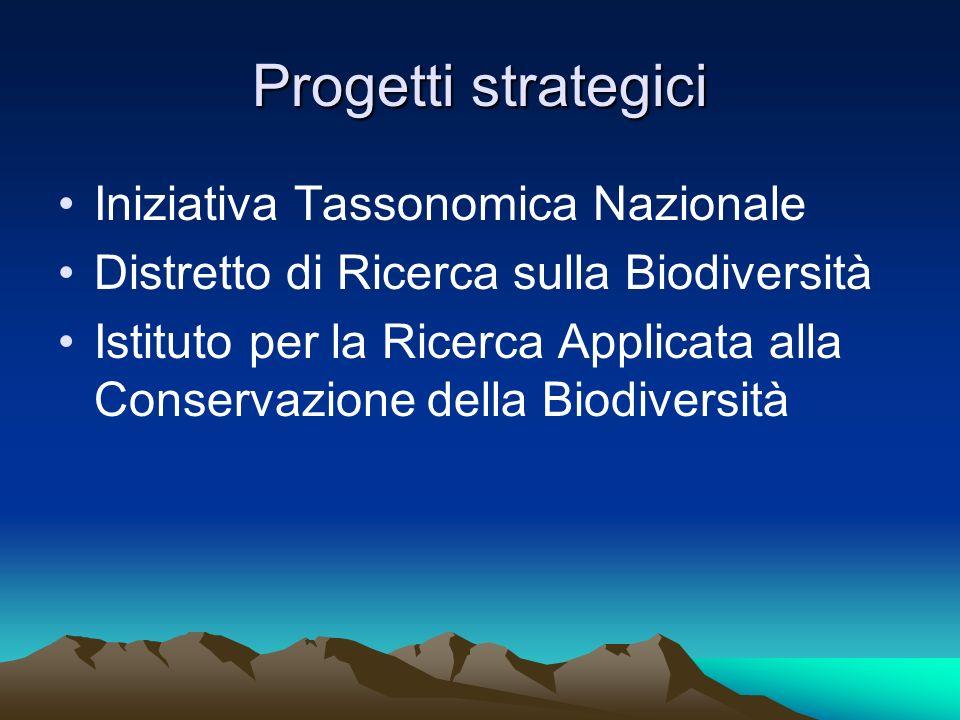 Progetti strategici Iniziativa Tassonomica Nazionale
